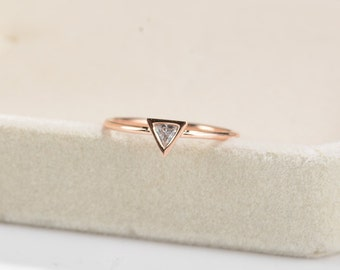 Simple Engagement Ring Rose Gold minimalist Trillion Dainty diamond ring Unique Wedding Triangle bezel set Promise Delicate Anniversary
