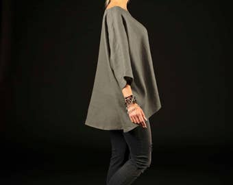 One size linen blouse / Comfortable linen blouse / Loose linen blouse / graphite