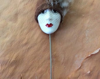 French Flapper Pin 1920s Style Ooh La La Français Feathers and felt assemblage cloche