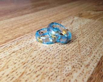Blue Resin Ring, Ocean Resin Ring, Starfish Ring, Sea Jewelry, Blue Ring, Cute Jewelry, Shell Ring, Beach Ring, Resin Jewelry, Gift For Her