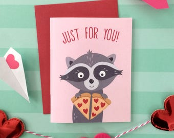 Just For You Raccoon Love Card