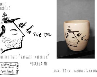 Mug porcelain illustrated, model 3