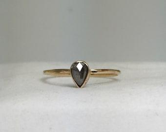Rose Cut Pear Diamond Engagement Ring, 14k Gold Diamond Ring, Alternative Engagement Ring