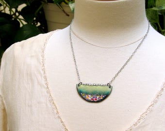 Impressionistic Landscape of Flower Meadows in Pastels and Pinks, Vitreous Enameled Copper Bar Pendant, Ready to Mail and to Gift for Her
