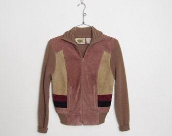 SWEATER SALE Vintage 1970s Organically Grown Sweater Jacket / Acrylic Knit & Suede Leather Zip Up Jacket / 70s Boho Festival Jacket