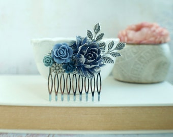 Navy Blue Grey Blue Flower Hair Comb, Silver Plated Comb Dusky Blue Silver Painted Rose, Something Blue Comb, Navy Blue Bridal Wedding Comb