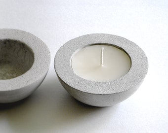 New! CONCRETE BOWL or Candle HOLDER + Beeswax Candle | Light Gray—Wedding Registry Housewarming Gift—bougeoir béton/Candelero hormigón gris