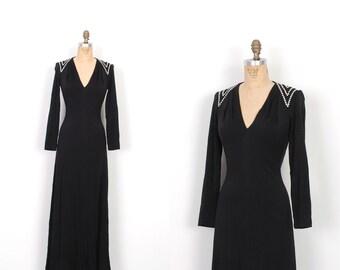 Vintage 1970s Dress / 70s Estevez Plunging Jersey Rhinestone Maxi Dress / Black (small S)