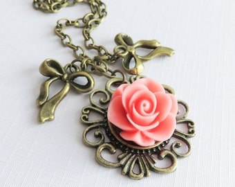 Pink flower necklace, charm necklaces, rustic floral jewelry, gift for her, romantic jewelry, pink rose jewelry, bronze necklace