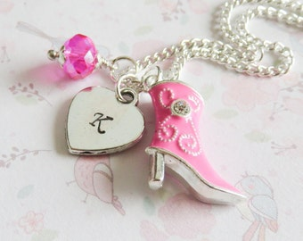 Personalized cow girl necklace, charm necklaces, little girl jewelry, birthday gift, granddaughter gift, initial necklaces
