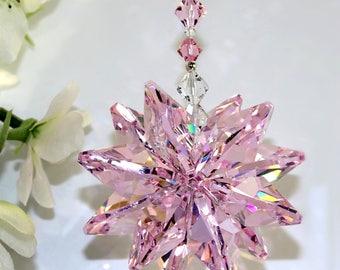 m/w Swarovski® HUGE RARE 26mm VINTAGE Rosaline Pink Crystal Octagons Starburst Sunburst Star SunCatcher, Home Ornament, Pearl Place N More