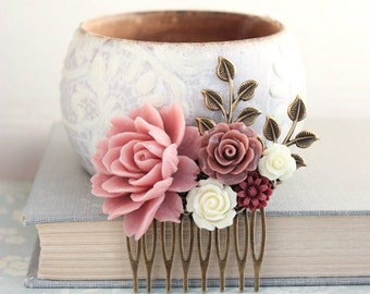 Floral Hair Piece Dusty Rose Wedding Bridal Hair Comb Antique Brass Branch Flowers for Hair Bridesmaid Gift Romantic Vintage Style Big Rose