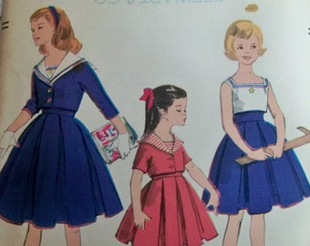 Girls Sailor Dress Sewing Pattern 1959 Size 8 Vogue 2864 Girls Two-Piece Dress and Jacket Supply Rockabilly 50s Pleated Skirt Camisole Top c