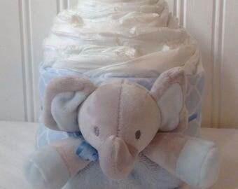 Blue Elephant Diaper Cupcake-Jumbo Diaper Cupcake