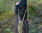 Fairy Bag - Pointed Knitted Drawstring Forest Sprite Satchel - Over The Shoulder - READY TO SHIP