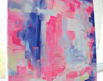 BRIGHT CANVAS PAINTING. bright pink + blues + white + hints of pale yellow + blush. canvas painting. decor. bright.