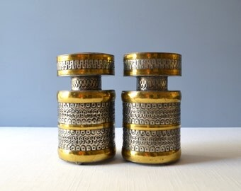Two Vintage Gene Byron Style Tin and Brass Candleholders