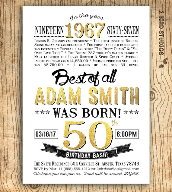 50th birthday invitation for men surprise 50th birthday invitation il570xn stopboris Choice Image