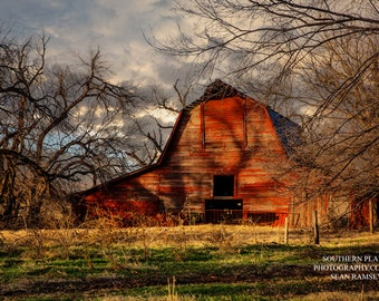 Barn Photography, Oklahoma Barn, Red Barn, Photography Print, Autumn Barn, Living Room Decor, Home Decoration, Barn Art, Farm Pictures