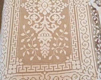 Lace Tablecloth, Woven Tablecloth, Vintage Filet Lace, Large Ecru Cloth