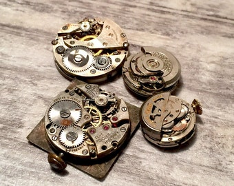 Jewelry Lot 4pcs Watch Movements, Steampunk Supplies, Four Vintage Watches, Bulova, Waltham, Swiss, Old Watch Parts, Watch Repair