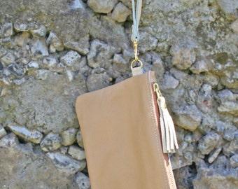 Leather Wristlet with Tassel & Zipper - Wristlet Clutch in Tan / Cream / Beige