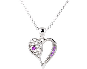 FREE SHIPPING - Tennis Heart Necklace, Tennis Jewellery, Sports Jewelry, Tennis Raquet, Heart Necklace, CZ, Diamonds, Personalized Gift