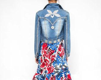 Boho Night out Rhinestone Jean Jacket/  Embroidered stones Denim Jacket/ Distressed Jacket/ Woman Denim / Small