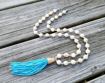 Blue Tassel Necklace, Blue Gold Beaded Necklace, Tan Marble Glass Bead Necklace with Blue Beaded Tassel, Gold and Blue Tassel Necklace