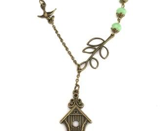 Birdhouse Necklace, Flying Bird Jewelry, Branch Tree Necklace, Bird House Necklace, Fly Away Home, Swallow Bird Necklace, Pendant Necklace