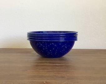 Vintage Blue Speckled Enamelware Bowls; Blue Enamel Bowls; Vintage Enamel Bowls; Camping Bowls; Outdoor Entertaining; Vintage Metal Bowls