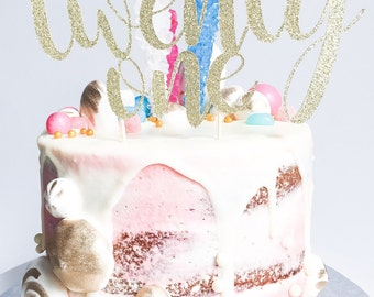 Twenty One Cake Topper • 21 Cake Topper • Custom Cake Topper • Birthday Cake Topper • Glitter Cake Topper