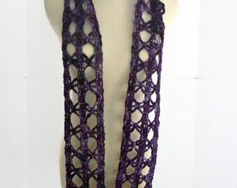 purple hand spun scarf, crochet lace scarf, skinny fashion scarf, decorative scarf, spring scarf, summer scarf, knit wear SpunWool