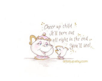 Beauty and the Beast, Mrs Potts and Chip, Disney, print, home decor