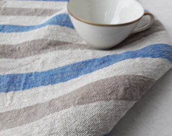 Striped towel Linen kitchen towel Burlap linen towel Grey blue Linen hand towel Pure linen towel Rustic Farmhouse cottage Modern kitchen