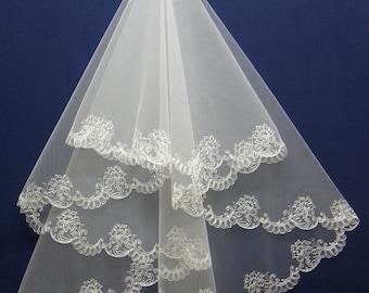 Embroidered wedding veil, 2 tier bridal veil, Lace veil, Blush veil, Long veil, Short veil, Fingertip veil, Cathedral veil, Custom veil