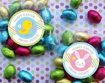 Printable easter candy huggers bunny and chick party favor personalized easter gift tags or stickers diy printable 2 25 or 3 inch negle Choice Image