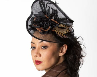 Black Kentucky Derby Fascinator Hat Pheasant Feathers Fascinator MALIKA DRAMATIC
