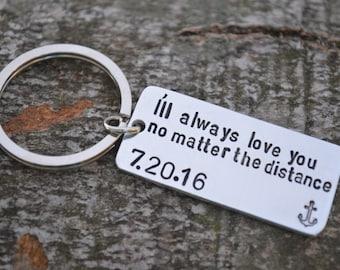 Long Distance Boyfriend Gift, Boyfriend Gift, Anniversary Gifts for Boyfriend, Long Distance Relationship Keychain, Personalized Keychain