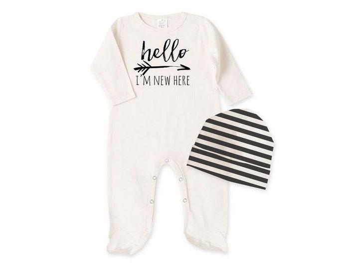 Newborn Baby Coming Home Footie, Newborn Black White Unisex Outfit, Newborn Unisex Footies Bodysuit, Hello I'm New Here Baby Romper Tesababe