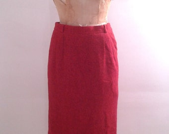 Vintage 1960's Red Bouclé Wool Pencil Skirt Sz Small Med Mod Mad Men