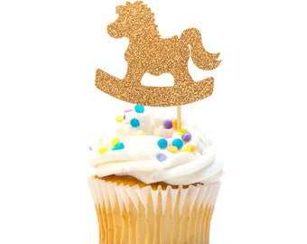 12 Count Glitter Rocking Horse Baby Cupcake Topper Baby Shower Cupcake Topper First Birthday Cupcake Topper Pink & Gold Birthday