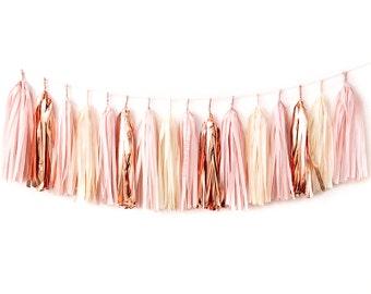 Blush Rose Gold Tassel Garland DIY Kit - Pink Champagne, Ivory, Nude, Rose Pink, Wedding Shower Tissue Paper Tassle Decor Balloon Tails