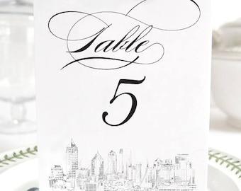 Atlanta Skyline Table Numbers, Atlanta Wedding Tables (1-10)