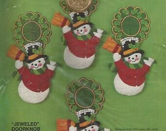 "Vintage BUCILLA CHRISTMAS Needlecraft Kit - 3401 - Jeweled Doorknob Ornaments ""SNOWMEN"" - Set of 4"