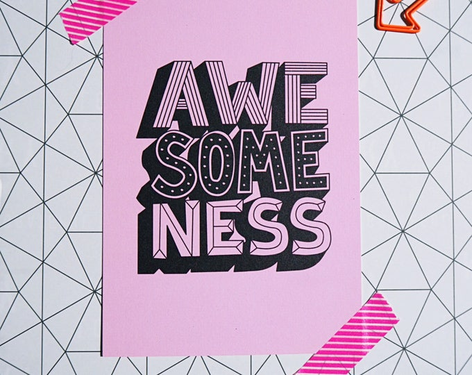AWESOMENESS pink hand drawn typography - A6 postcard