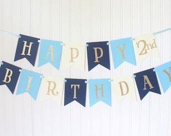 Gold glitter Navy, Blue, Happy 1st Birthday Banner/ Boy Birthday/Prince Party/ Child Birthday/ Party Decoration/ Personalized Name/ Custom