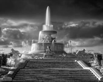Lustre Print: The Majestic Scott Fountain-Belle Isle