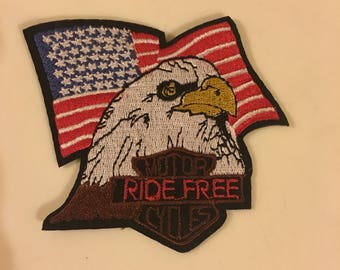 Eagle motorcycles  american flag embroidered iron on sew on patch