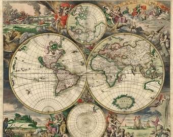 Old World Map Cross Stitch Pattern Pdf 1689 Gerard van Schagen Kräiz Stitch - 496 x 387 stitches - INSTANT Download - B283